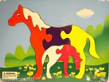 "HORSES 6 pc Wood Puzzle 11.5x8.5"" Educational Toy Wooden Woodcraft Construction"