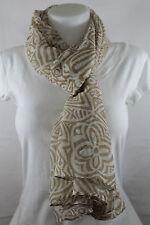 Echarpe, chèche, foulard, étole, beige et blanc