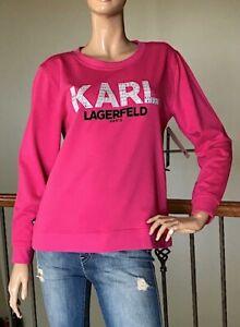 KARL LAGERFELD PARIS WOMEN BRIGHT PINK RHINESTONE LOGO SWEATSHIRT NWT SIZE S