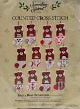 12 Teddy Bear Christmas Ornaments Cross Stitch Kit Candamar Vintage New