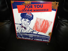 Antique style porcelain look Standard gas & oil windshield dealer service sign