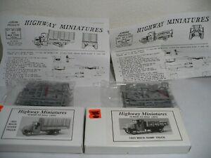 HO Scale Jordan Highway Miniatures 1923 Mack Trucks 1 Dump and 1 Stake NIB