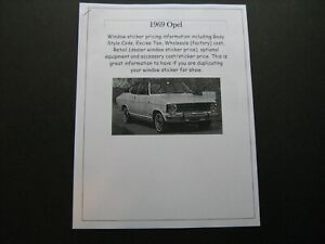 1969 Opel Kadett, Rallye dealer cost/window list sticker $$ for car/options '69