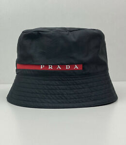 Prada Nylon Red Stripe Technical Bucket Hat Logo Black One Size Unisex