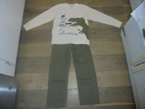Gymboree dinosaur tracker green jeans and matching shirt outfit set size 7