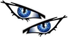 Pair Of EVIL Eyes Eye BLUE IRIS car Motorbike Helmet Drone Quad Sticker 50x25mm