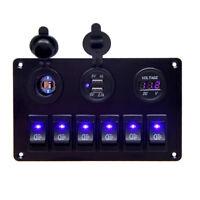 6Gang LED Schalter Schaltpanel Voltmeter +USB12V-24V Schalttafel Marine Bus Boot