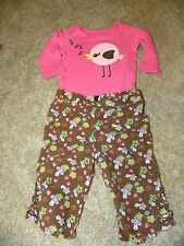 Crazy 8 George Brown Pink Flower Bird Two Piece Outfit 0 3 months