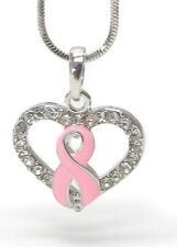 White Gold Plated Crystal Pink Ribbon Heart pendant necklace Awareness