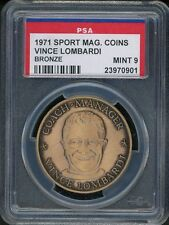 1971 Vince Lombardi Sport Magazine Top Performers Coin Bronze PSA 9 MINT Packers