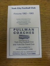 1982/1983 Fixture List: York City - Official Four Page Card . Thanks for viewing