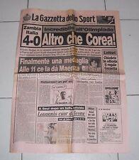 La Gazzetta dello sport OLIMPIADI SEUL 1988 ZAMBIA ITALIA 4-0 - 20 settembre