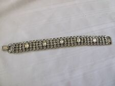 "Weiss vintage prong set rhinestone bracelet 4 rows signed 7"""