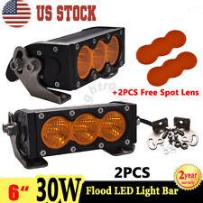 "2X 6"" 30W LED Light Bar Flood Single Row Amber Fog Lamp Offroad SUV + Spot Lens"