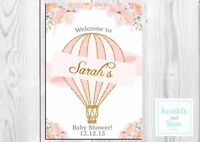 A4 A3 Personalised Pink Hot Air Balloon, Floral, Girl Baby Shower Welcome Sign