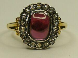 ANTIQUE STYLE CABOCHON RHODOLITE GARNET & DIAMOND 14CT GOLD RING, SIZE N 1/2
