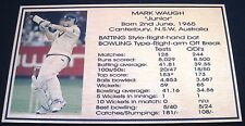 Mark Waugh Gold Plaque picture and stats new 140x80mm