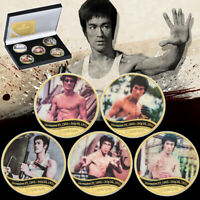 5pcs Bruce Lee Gold Coin Chinese Kungfu Super Star Chinese Dragon In Gift Box