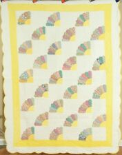 GORGEOUS Vintage 30's Grandmother's Fan Antique Quilt ~BEAUTIFUL YELLOW ACCENTS!