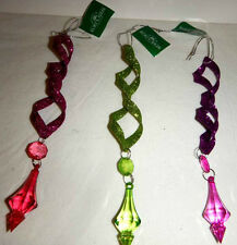 "Set Of 3 ""Groovy"" Metal Icicle Ornaments By Kurt S. Adler D1029"