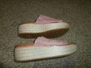 FitFlop Women's Size 10 Wedge Slides Shoes Pink Suede Leather Slip On Cushioned