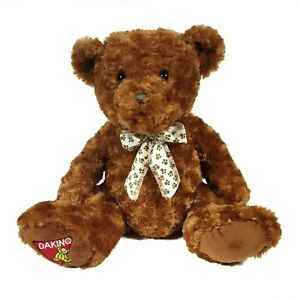 "Dakin Teddy Bear With Paw Print Bow Brown 14"" Stuffed Animal Plush Toy"