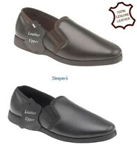 MENS Slippers SOFTIE LEATHER Luxury Padded Black Brown Size 6 7 8 9 10 11 12