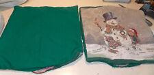 Pair of Green Snowman Decorative Print Throw Pillows  18 x 18