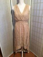 Dressbarn Women's Size 12 Tan Hi-Lo Hemline V-Neckline Stretch Maxi Lace Dress