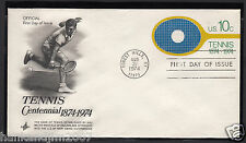Tennis Centennial 1974 Usps First Day Cover & 10 cent with Logo