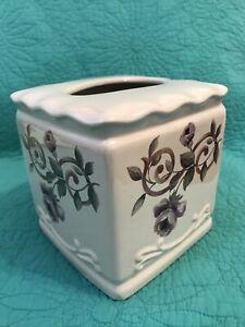 VTG Croscill Ceramic Cassis Chambord•Bordeaux Tissue Cover• Purple Floral•Vines