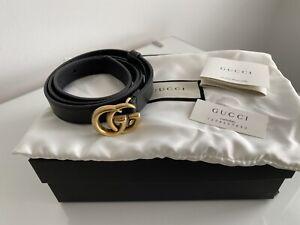 Gucci slim black leather belt - size 80