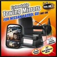 TOP Black Extendable Towing Mirrors for NISSAN PATROL GU Y60/Y61/Y62 1997-2019
