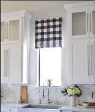 "Country Curtains Blue & White Plaid Roman Shade Valance Sz 35""x26"""