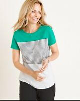 Chicos Zenergy Striped Color Block Short Sleeve Tee T Shirt Womens Size 1 (8/10)