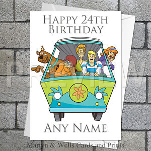 Scooby Doo personalised birthday card. 5x7 inches. Mystery Machine.