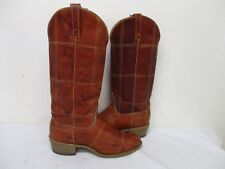 ACME Patched Browns Leather Cowboy Boots Womens Size 7.5 M USA