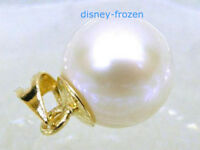 Gorgeous AAA+ 10-11mm real natural south sea white round pearl pendant 14k Gold