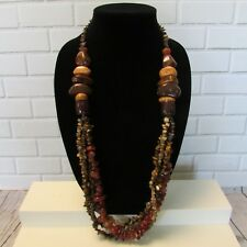 Statement Necklace Chunky Polished Stone Rock Chips Brown Butterscotch Orange