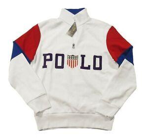 Polo Ralph Lauren Men's White Multi Team USA Logo 1/2 Zip Pullover Sweatshirt
