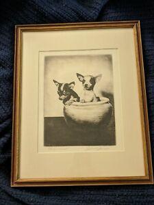 JOHN C. JANES VINTAGE SIGNED ORIGINAL DOG ETCHING OF CHIHUAHUAS