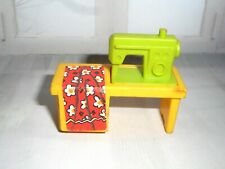 Vintage FISHER PRICE LITTLE PEOPLE SEWING MACHINE ON TABLE