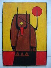 Art ethnique contemporain - Tableau signé Mö - 65 x 45 cm -.