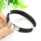 Men's Women's Cross Bracelet Silicone Leather Unisex Cuff Punk Bangle Wristband
