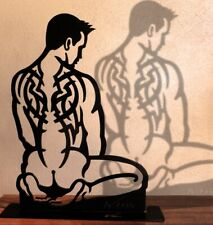 """Robin"" 20inch by Wim Griffith Male nude steel sculpture gay tattoo inked art"