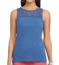 Chaps Woman Petite Large Ridge Blue Macrame Yoke Top Tank Tee T-shirt Msrp  $45