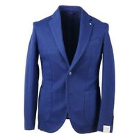 NWT $875 L.B.M. 1911 Medium Blue Woven Cotton Sport Coat Slim 40 R (EU 50)