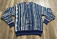 Men's Vintage 90s Coogi Style Biggie Florence Tricot Blue Mosaic Sweater M