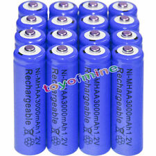 16x AA Batteries Bulk Nickel Hydride Wiederaufladbare NI-MH 3000mAh 1.2V Blu