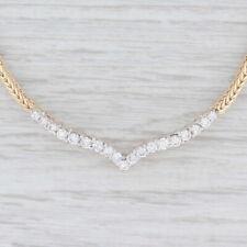 "1ctw Diamond V Necklace 14k Yellow Gold Wheat Chain 16"""